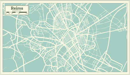 Reims France City Map in Retro Style. Outline Map. Vector Illustration.