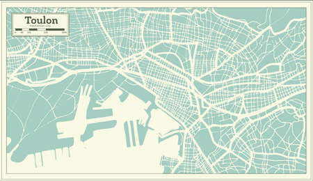 Toulon France City Map in Retro Style. Outline Map. Vector Illustration.