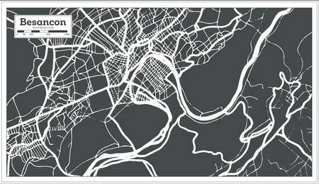 Besancon France City Map in Retro Style. Outline Map. Vector Illustration.