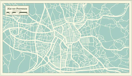 Aix-en-Provence France City Map in Retro Style. Outline Map. Vector Illustration.