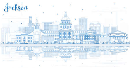 Outline Jackson Mississippi City Skyline with Blue Buildings and Reflections. Vector Illustration. Tourism Concept with Historic Architecture. Jackson USA Cityscape with Landmarks. Ilustração