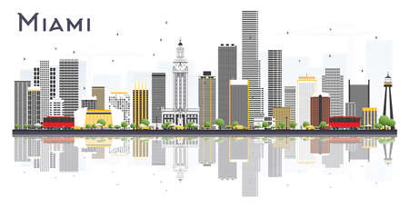 Miami USA City Skyline with Gray Buildings Isolated on White Background. Vector Illustration. Business Travel and Tourism Concept with Modern Buildings. Miami Cityscape with Landmarks.