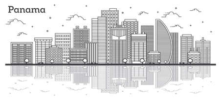 Outline Panama City Skyline with Modern Buildings and Reflections Isolated on White. Vector Illustration. Panama Cityscape with Landmarks. Stock fotó - 122727160