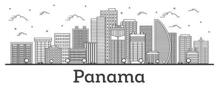 Outline Panama City Skyline with Modern Buildings Isolated on White. Vector Illustration. Panama Cityscape with Landmarks.