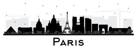 Paris France City Skyline Silhouette with Black Buildings Isolated on White. Vector Illustration. Business Travel and Concept with Historic Architecture. Paris Cityscape with Landmarks. Vettoriali