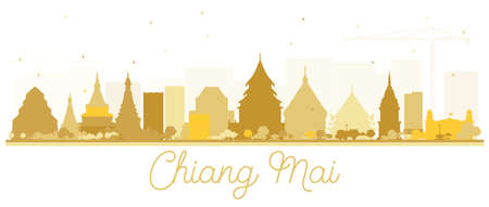 Chiang Mai Thailand City Skyline Silhouette with Golden Buildings Isolated on White. Vector Illustration. Tourism Concept with Modern Architecture. Chiang Mai Cityscape with Landmarks.