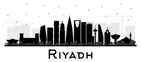 Riyadh Saudi Arabia City Skyline Silhouette with Black Buildings Isolated on White. Vector Illustration. Business Travel and Concept with Modern Architecture. Riyadh Cityscape with Landmarks.