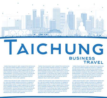 Esquema del horizonte de la ciudad de Taichung Taiwán con edificios azules y copie el espacio. Ilustración de vector. Concepto de turismo y viajes de negocios con arquitectura histórica. Paisaje urbano de Taichung China con hitos. Ilustración de vector