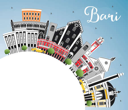 Bari Italy City Skyline with Gray Buildings, Blue Sky and Copy Space. Vector Illustration. Business Travel and Tourism Concept with Modern Architecture. Bari Cityscape with Landmarks.