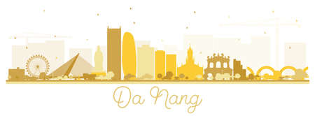 Da Nang Vietnam City Skyline Silhouette with Golden Buildings Isolated on White. Vector Illustration. Business Travel and Tourism Concept with Modern Architecture. Da Nang Cityscape with Landmarks. Illustration