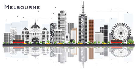 Melbourne Australia City Skyline with Gray Buildings and Reflections Isolated on White Background. Vector Illustration. Tourism Concept with Modern Buildings. Melbourne Cityscape with Landmarks.