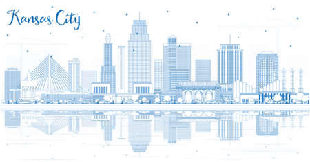 Outline Kansas City Missouri Skyline with Blue Buildings and Reflections. Vector Illustration. Business Travel and Tourism Concept with Modern Architecture. Kansas City Cityscape with Landmarks. Illustration