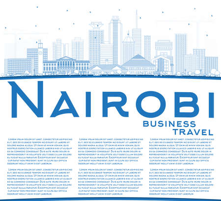 Outline Nairobi Kenya City Skyline with Blue Buildings and Copy Space. Vector Illustration. Business Travel and Concept with Modern Architecture. Nairobi Cityscape with Landmarks.