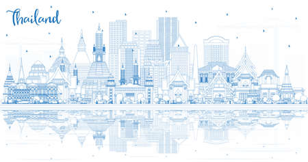 Outline Thailand City Skyline with Blue Buildings and Reflections. Vector Illustration. Tourism Concept with Historic Architecture. Thailand Cityscape with Landmarks.