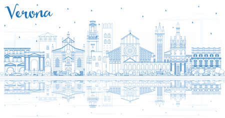 Outline Verona Italy City Skyline with Blue Buildings and Reflections. Vector Illustration. Business Travel and Tourism Concept with Historic Architecture. Verona Cityscape with Landmarks. Ilustração