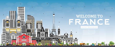 Welcome to France Skyline with Gray Buildings and Blue Sky. Vector Illustration. Tourism Concept with Historic Architecture. France Cityscape with Landmarks. Toulouse. Paris. Lyon. Marseille.  イラスト・ベクター素材
