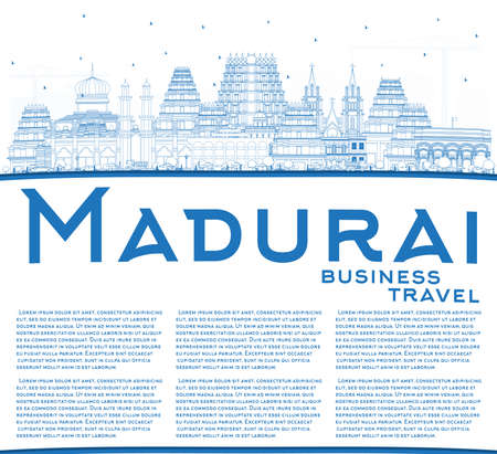 Outline Madurai India City Skyline with Blue Buildings and Copy Space. Vector Illustration. Business Travel and Concept with Historic Architecture. Madurai Cityscape with Landmarks.