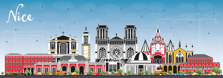 Nice France City Skyline with Color Buildings and Blue Sky. Vector Illustration. Business Travel and Concept with Historic Architecture. Nice Cityscape with Landmarks. Vektoros illusztráció