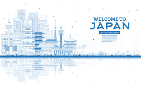Outline Welcome to Japan Skyline with Blue Buildings and Reflections. Vector Illustration. Tourism Concept with Historic Architecture. Japan Cityscape with Landmarks. Tokyo. Osaka. Nagoya. Kyoto.