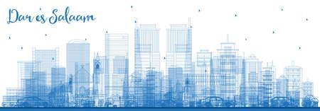 Umreißen Sie die Skyline von Dar Es Salaam Tansania mit blauen Gebäuden. Vektor-Illustration. Geschäftsreise- und Tourismuskonzept mit moderner Architektur.