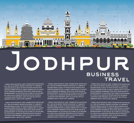Jodhpur India City Skyline with Color Buildings, Blue Sky and Copy Space. Vector Illustration. Business Travel and Concept with Historic Architecture. Jodhpur Cityscape with Landmarks. 일러스트