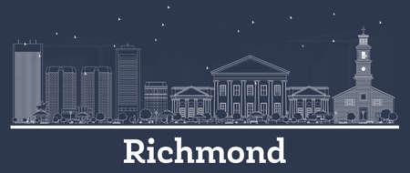 Décrire les toits de la ville de Richmond en Virginie avec des bâtiments blancs. Illustration vectorielle. Voyage d'affaires et concept avec l'architecture moderne. Paysage urbain de Richmond avec des points de repère.