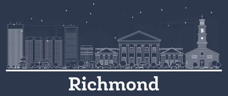 Outline Richmond Virginia City Skyline with White Buildings. Vector Illustration. Business Travel and Concept with Modern Architecture. Richmond Cityscape with Landmarks.