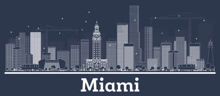 Outline Miami Florida City Skyline with White Buildings. Vector Illustration. Business Travel and Concept with Modern Architecture. Miami Cityscape with Landmarks.
