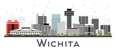 Wichita Kansas City Skyline with Gray Buildings Isolated on White. Vector Illustration. Business Travel and Tourism Concept with Modern Architecture. Wichita Cityscape with Landmarks.