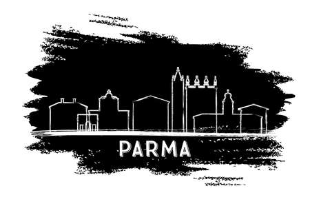 Parma Italy City Skyline Silhouette. Hand Drawn Sketch. Vector Illustration. Business Travel and Tourism Concept with Historic Architecture. Parma Cityscape with Landmarks. Ilustração