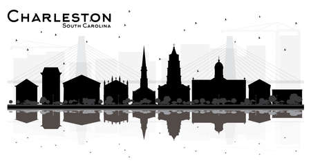 Charleston South Carolina City skyline silhouette with black Buildings Isolated on white. Vector illustration. Concept for tourism presentation, banner, placard or web site. Business travel concept. Illustration