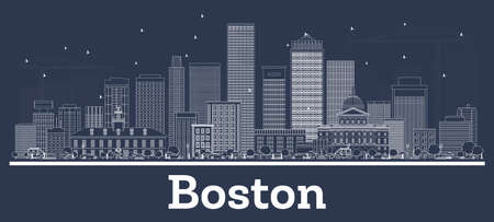 Outline Boston Massachusetts City Skyline with White Buildings. Vector Illustration. Business Travel and Concept with Modern Architecture. Boston USA Cityscape with Landmarks.