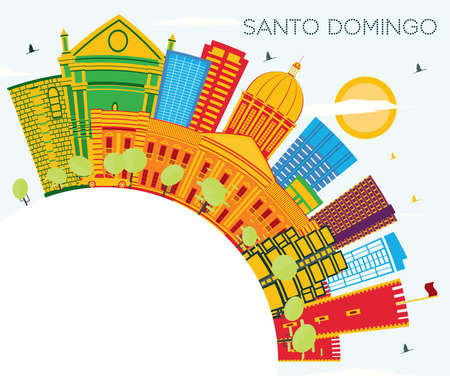 Santo Domingo Dominican Republic Skyline with Color Buildings, Blue Sky and Copy Space. Vector Illustration. Tourism Concept with Modern Architecture. Santo Domingo Cityscape with Landmarks. Ilustração