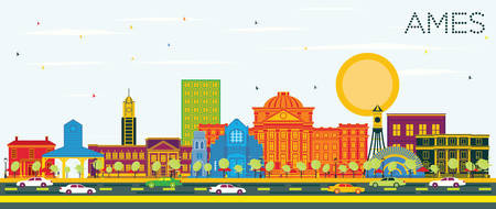 Ames Iowa City Skyline with Color Buildings and Blue Sky. Vector Illustration. Business Travel and Tourism Illustration with Historic Architecture. Ames Cityscape with Landmarks. Stockfoto - 122843377