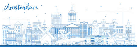 Outline Amsterdam Holland City Skyline with Blue Buildings. Vector Illustration. Business Travel and Tourism Concept with Historic Architecture. Amsterdam Netherlands Cityscape with Landmarks.