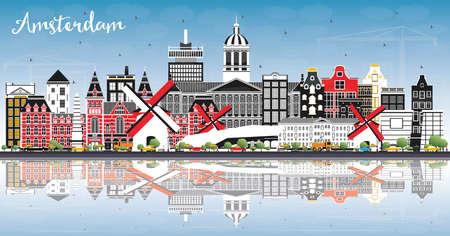 Amsterdam Holland City Skyline mit Farbgebäuden, blauem Himmel und Reflexionen. Vektor-Illustration. Geschäftsreise- und Tourismuskonzept mit historischer Architektur. Amsterdam Niederlande Stadtbild mit Sehenswürdigkeiten. Vektorgrafik