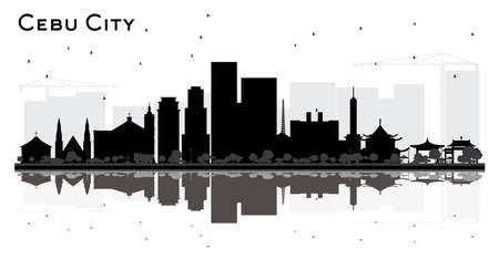 Cebu City Philippines Skyline Silhouette with Black Buildings and Reflections Isolated on White. Business Travel and Tourism Concept with Modern Architecture. Cebu City Cityscape with Landmarks. Vector Illustration