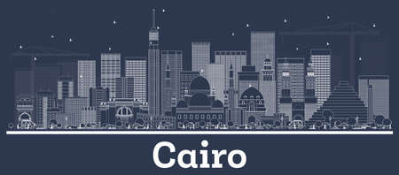 Décrivez les toits de la ville du Caire en Égypte avec des bâtiments blancs. Illustration vectorielle. Voyage d'affaires et concept avec une architecture moderne. Paysage urbain du Caire avec points de repère. Vecteurs