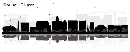 Council Bluffs skyline black and white silhouette with Reflections. Vector illustration. Simple flat concept for tourism presentation, banner, placard or web site. Cityscape with landmarks.