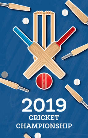 Cricket 2019 Flyer. Player Bat and Ball. Cricket Sports Background. Vector Illustration.