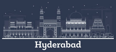 Outline Hyderabad India City Skyline with White Buildings. Vector Illustration. Business Travel and Concept with Modern Architecture. Hyderabad Cityscape with Landmarks.