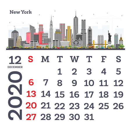 December 2020 Calendar Template with New York City Skyline. Vector Illustration. Template for Print. Week starts from Sunday. Ilustrace