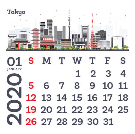 January 2020 Calendar Template with Tokyo City Skyline. Vector Illustration. Template for Print. Week starts from Sunday. Ilustrace
