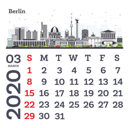 March 2020 Calendar Template with Berlin City Skyline. Vector Illustration. Template for Print. Week starts from Sunday.
