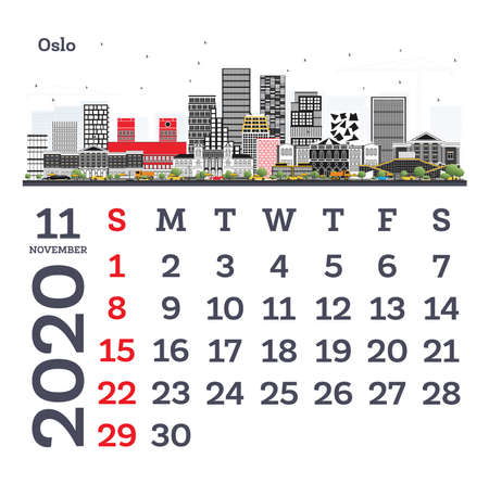 November 2020 Calendar Template with Oslo City Skyline. Vector Illustration. Template for Print. Week starts from Sunday.