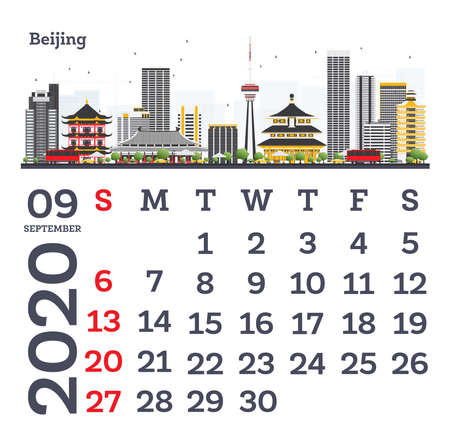 September 2020 Calendar Template with Beijing City Skyline. Vector Illustration. Template for Print. Week starts from Sunday.