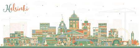 Helsinki Finland City Skyline with Color Buildings. Vector Illustration. Business Travel and Concept with Historic Architecture. Helsinki Cityscape with Landmarks. Vektoros illusztráció