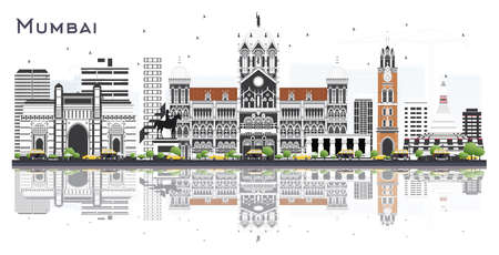 Mumbai India City Skyline with Color Buildings and Reflections Isolated on White. Vector Illustration. Business Travel and Tourism Concept with Historic Architecture. Mumbai Cityscape with Landmarks.