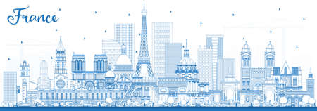 Outline France City Skyline with Blue Buildings. Vector Illustration. Tourism Concept with Historic Architecture. France Cityscape with Landmarks. Toulouse. Paris. Lyon. Marseille.