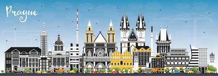 Prague Czech Republic City Skyline with Color Buildings and Blue Sky. Vector Illustration. Business Travel and Tourism Concept with Historic Architecture. Prague Cityscape with Landmarks.